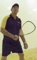 Warren plays on the University of Washington's racquetball courts a few weeks after video-assisted thoracoscopic surgery. His lung surgeon agreed to put off the VATS for a week so Warren could compete in the International Racquetball Championships.