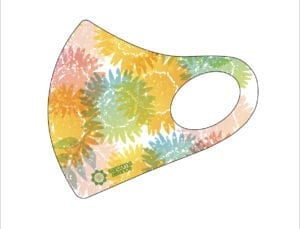Rainbow floral pattern on white mask