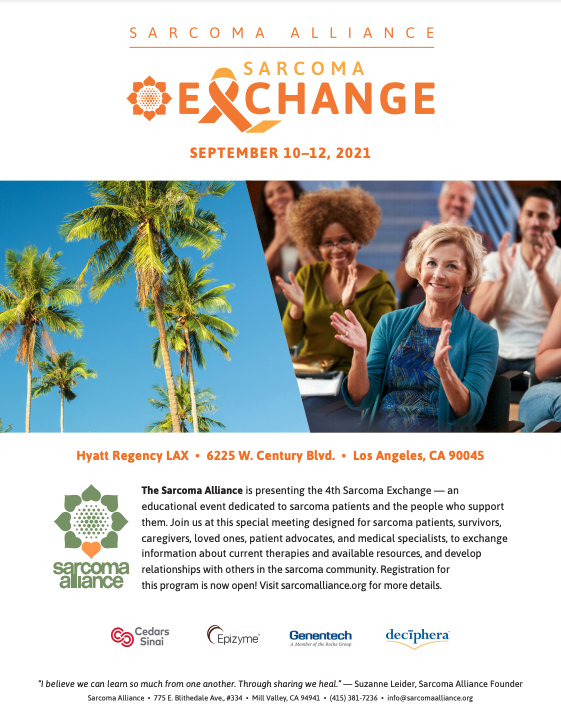 Event flyer screen shot for Sarcoma Exchange 2021