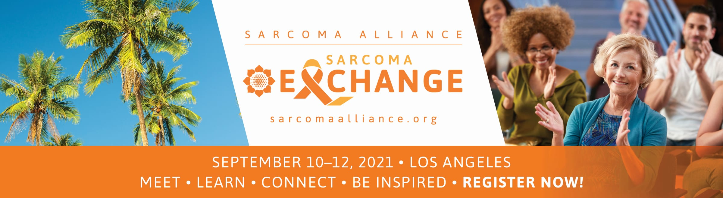 Banner promoting Sarcoma Exchange coming in September 2021